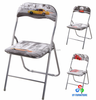 Zhangzhou living room furniture metal folding chairs with printing design wholesale