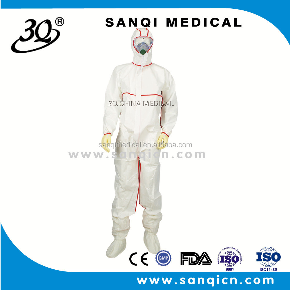 High Quality Disposable SF/SMS Protection Gown/coverall/coat with red side For Medical & Industrial Use