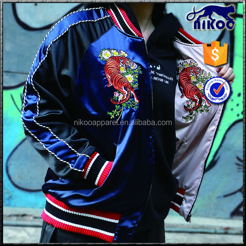 Custom Couple Bomber Jakcet, Two side MA1 Satin Bomber jacket, Embroidery Reversible bomber jacket