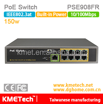 8 port 10/100Mbps PoE Switch PSE908FR Support OEM 30W 802.3at for surveillance IP camera hot
