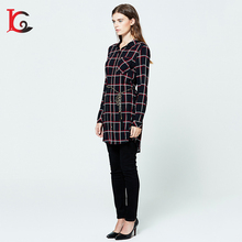 new style fashion design slim fit plaid woman shirt long sleeve ladies modern blouse