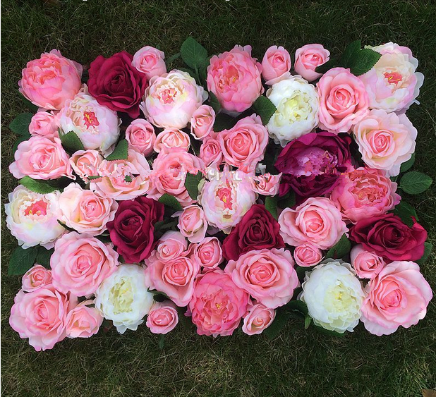Artificial rose and bydrangea blossom flower wall for wedding