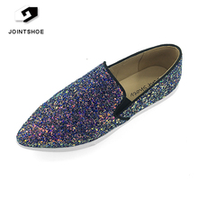 China factory Wholesale pointed toe sexy woman sequin casual shoes