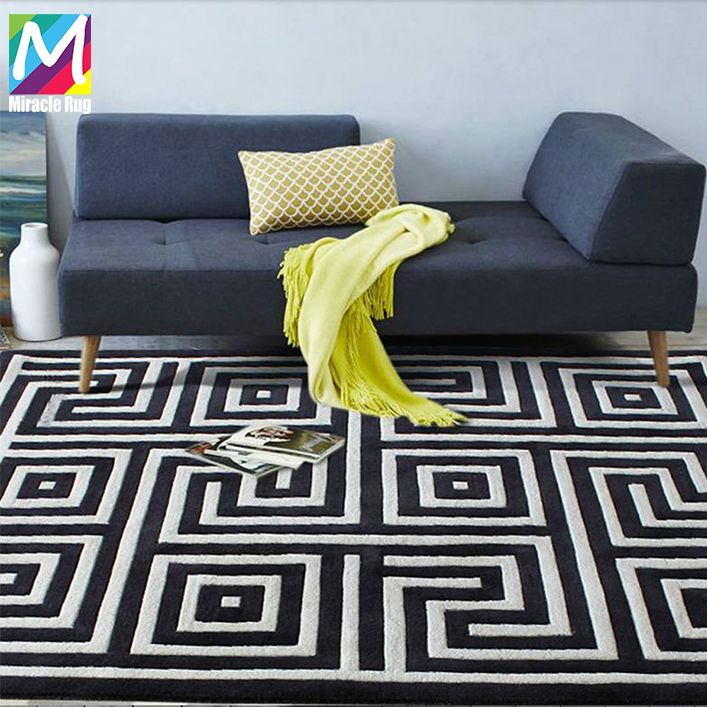 Best Selling Modern Design Geometric Pattern Living Room Handmade Wool Carpet Custom Area rug