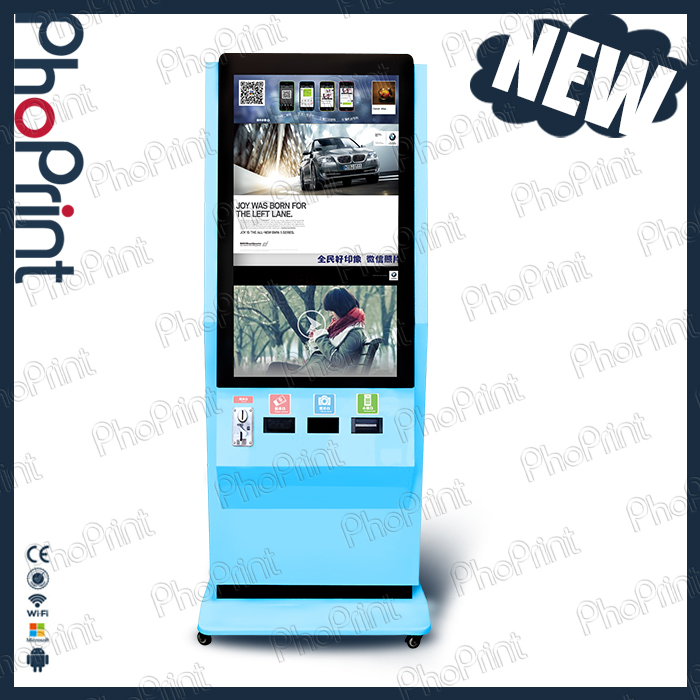 Photo printer best Agent distributors 42 inch lcd screen colorful photo vending machine/post free ads/photo booth kiosk