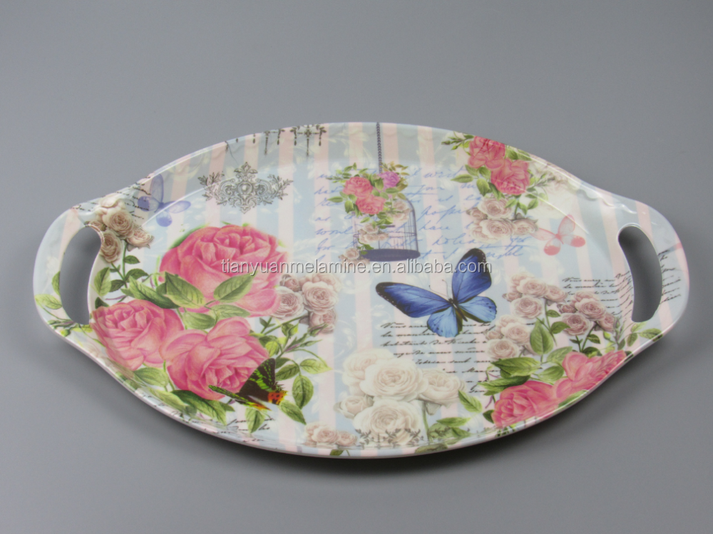New design printed large tray melamine serving tray