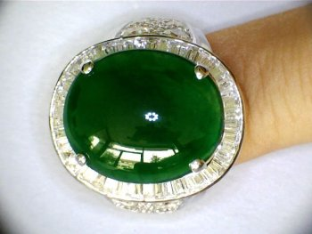 BEST 10.28ct Natural Imperial Glassy Burma Jadeite A Jade Diamond Ring Solid White Real Gold