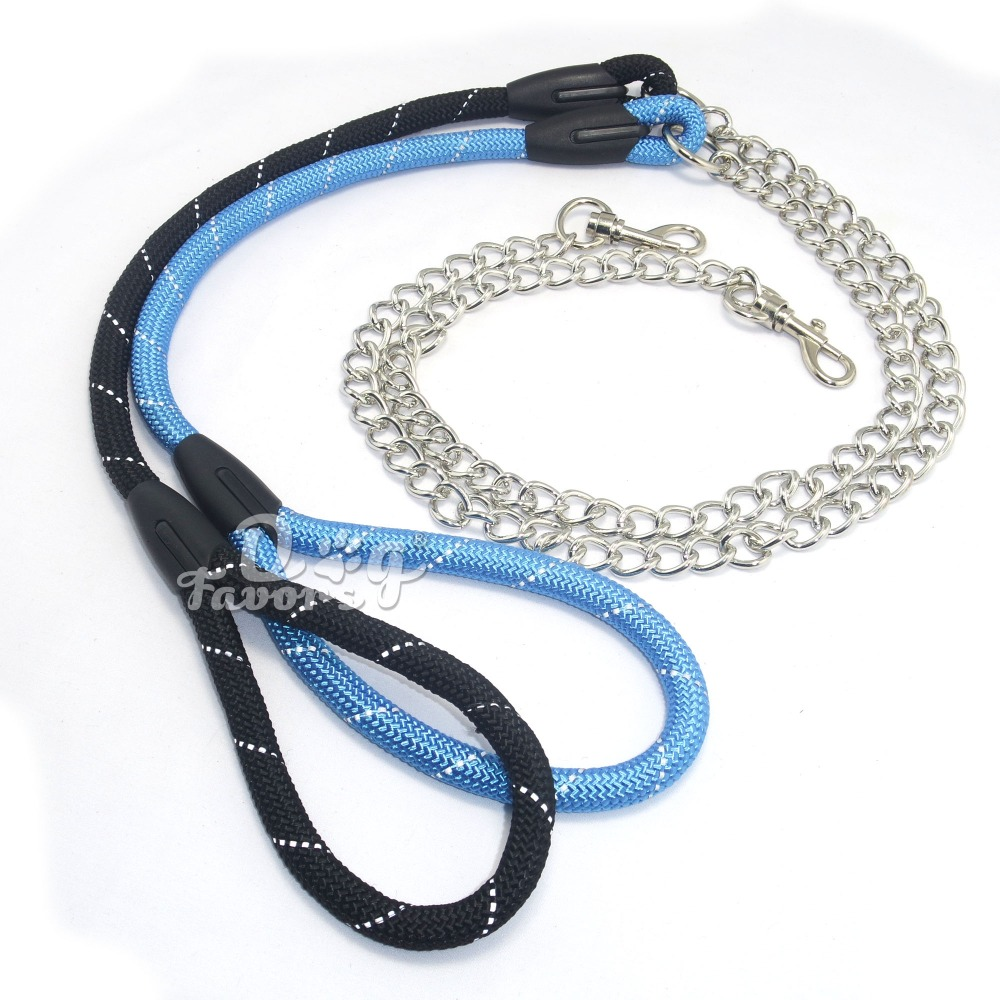 2016 New Pet Dog Chain Stainless Steel Chain and Reflective Rope Handle Leash 3.0mm * 120cm Puppy Kitten Leashes