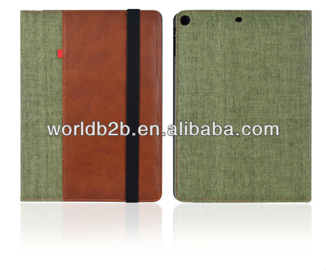 2 Tone PU leather Stand case for iPad Air with elastic strap closure
