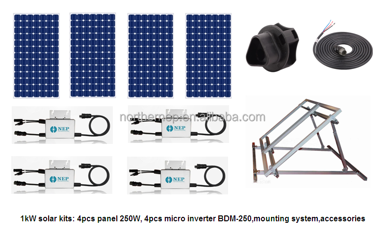 1kW grid tie solar system for small homes, 1kW solar energy kits