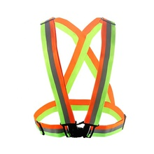 2019 BSCI Amazon Adjustable Green /Orange Shiny <strong>Safety</strong> Be Seen Be Safe Reflective Vest for Outside Sports