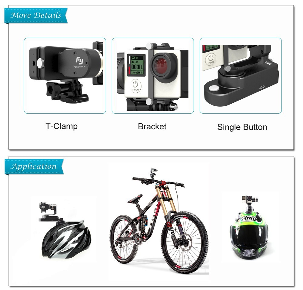 Factory price 2 axis brushless gimbal WG mini for bike moto