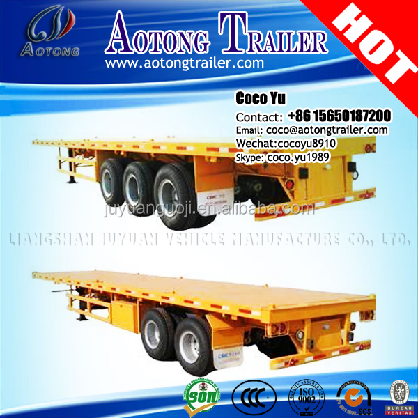 Side wall optional 60ton 3 Axles 40ft Container high flat bed truck trailers with lifting suspension axles