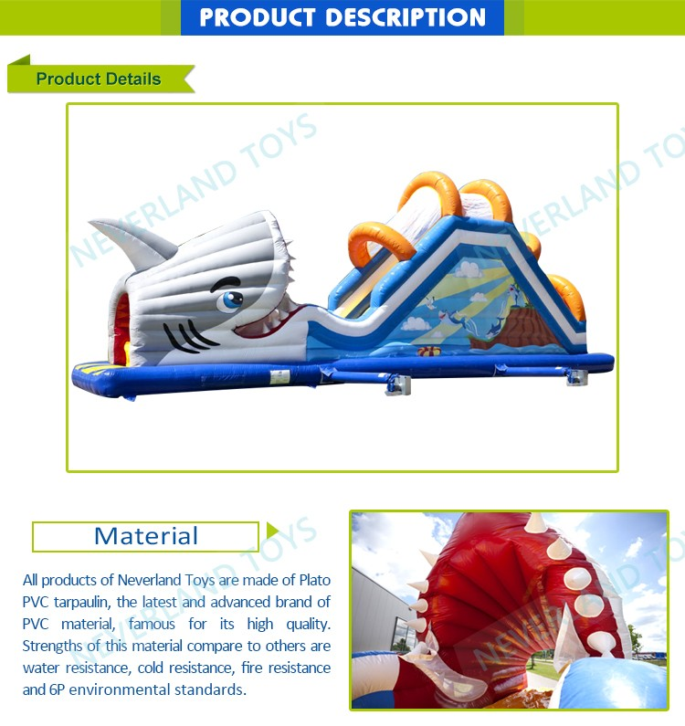 Professional Supplier NEVERLAND TOYS Toboggan Attacque Requin Inflatable Outdoor Slide Children's Used Party Jumpers For Sale