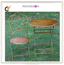 Wholesale Garden Brown Vintage Foldable Iron Bistro Table Chair Sets