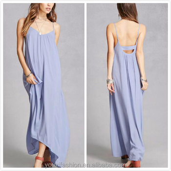 High-Low cami pregnant long dress for woman with deep V-neck