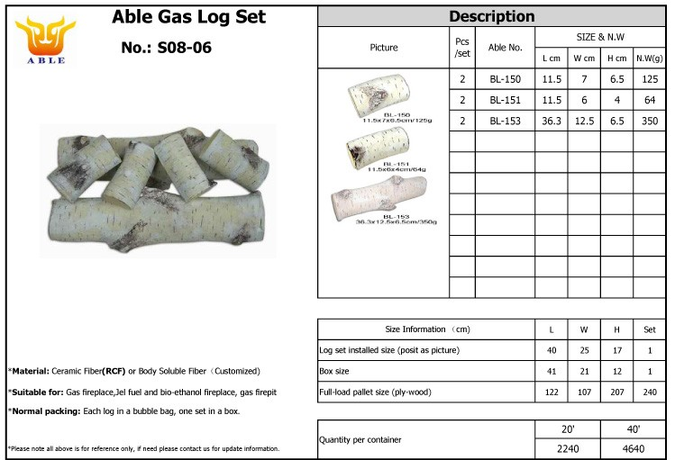 Ceramic gas logs for gas fires