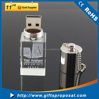Laser Logo Engraved Promotion Led Light 16GB Crystal USB Flash Drive Bulk Pen Drive