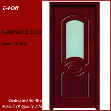 interior modern frosted glass mould wood door design with oval glass