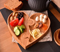 Multifunctional Puzzle Nuts, Appetizer, Snack and Breakfast Bamboo Tray Plate in heart shape