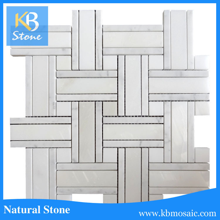 Italian white biacno carrara marble mosaic tile with grey strip