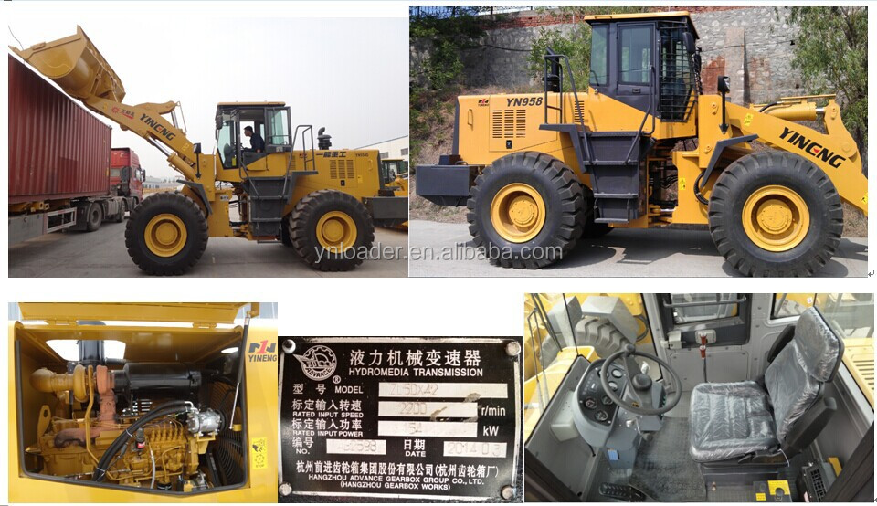 ZL50 Yineng loader shan dong Cat engine YN958G wheel loader with grass grasper /clamp Shan dong