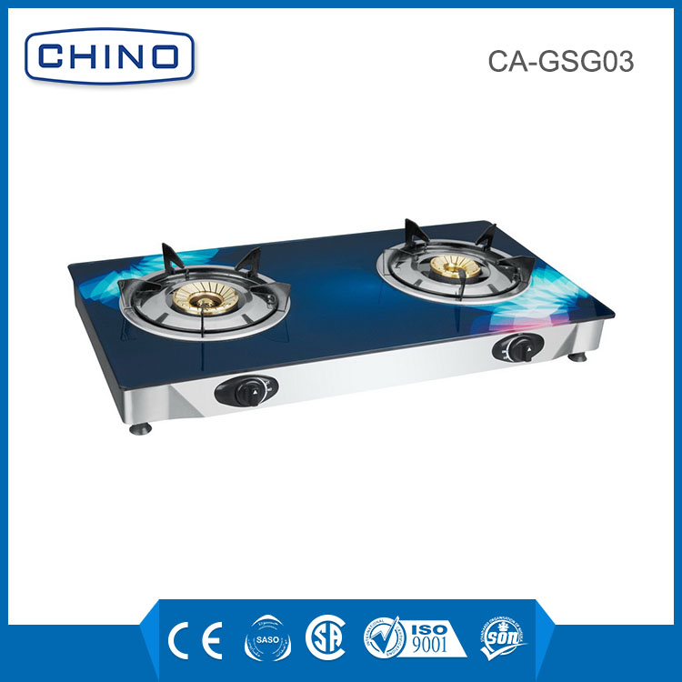 Double burner glass gas stove kitchen gas grills
