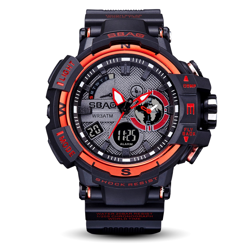 SBAO New Electronic Men Watches Student Sport WristWatches Clock Waterproof Multicolor Water Resistant Function Alarm Auto <strong>Date</strong>