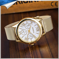 China Cheaper 2016 Stainless Steel Geneva Watch Business Gold Wristwatch Quartz Watches Men Casual Wrist Watches GW059