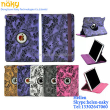 For iPad air 360 Degree Rotating pu Leather Case Smart Cover Swivel Stand with Grape flower design