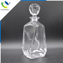 Decorative crystal tequila rum glass bottle with cork