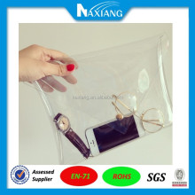 Clear Long Envelope Clutch PVC Vinyl Plastic Purse Bag Handbag Ladies