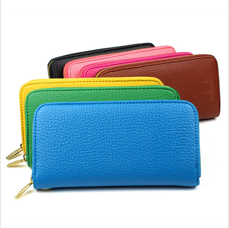2015 new arrival wallet fashion solid pu leather long style brand designer women wallets hot sale 7 color purses free shipping