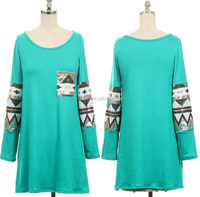 SEQUINS DETAIL SLEEVE TUNIC TOP WITH POCKET,WHOLESALE WOMEN LONG SLEEVE BLOUSES,LADIES CONTRAST BLOUSES OEM DESIGNS 2XL 3XL