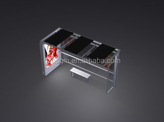 Modern Style Aluminum & Stainless Steel Outdoor Economic Bus Stop Station Design with LED Lights for Public Construction