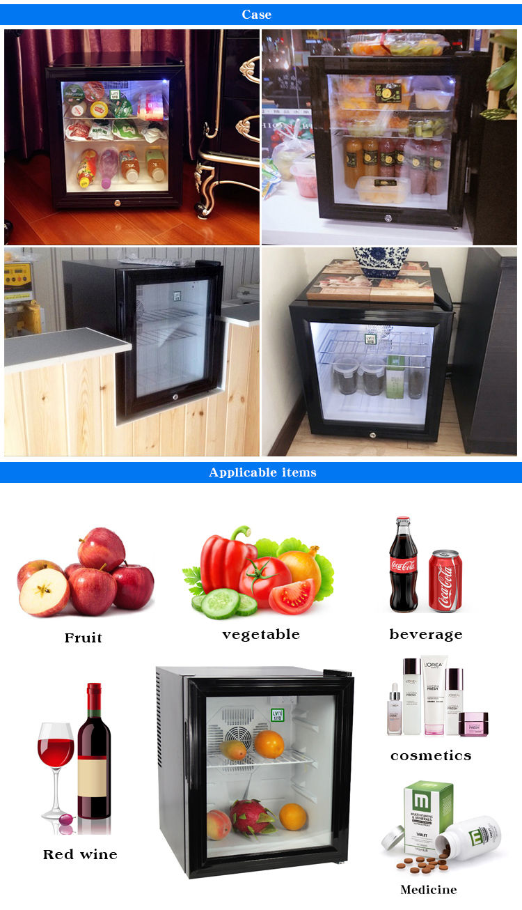 LVNI 2017 high performance hotel home no noise 40L glass door mini bar fridge cooler