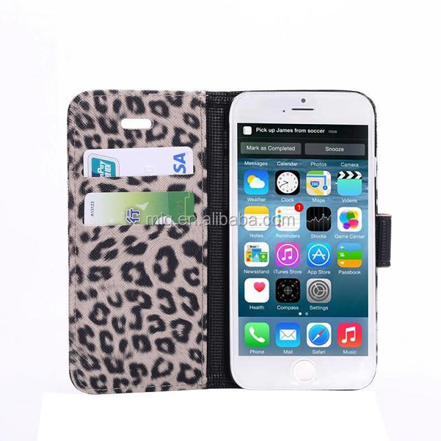 "Leopard PU leather wallet case with stand For iphone 6 accessory, for iphone 6 4.7""Mobile phone cover 3 colors optional"