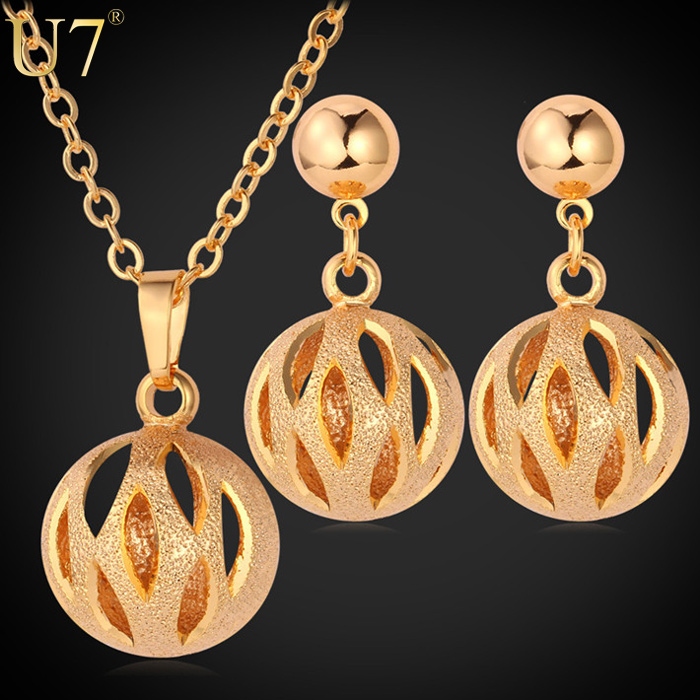 U7 women turkish gold jewelry set wedding 18k gold plated Lovely Ball necklace earrings , Set