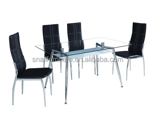 simple rectangular clear tempered glass top dining table