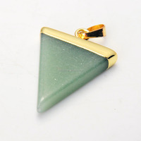 Wholesale Natural Green Aventurine Triangle Healing Chakra Pendant 2015 New Gemstone Gilding Pendant Natural Stone Jewelry