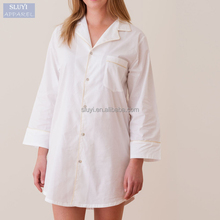 latest nighty designs long sleeve blouse deign white bottom-up india cotton fat women nighties