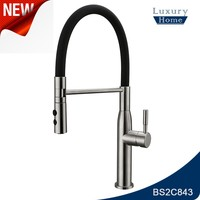 UPC Pull Down Single Handle 304 Stainless Steel Kitchen Faucet