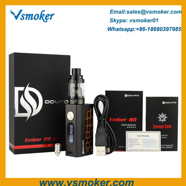 Authentic Dovpo Ember 80W TC Box Mod Kit With Top Airflow Savage Tank
