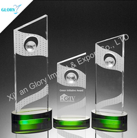 Wholesale Green Base Engraved Crystal Plaque With Globe