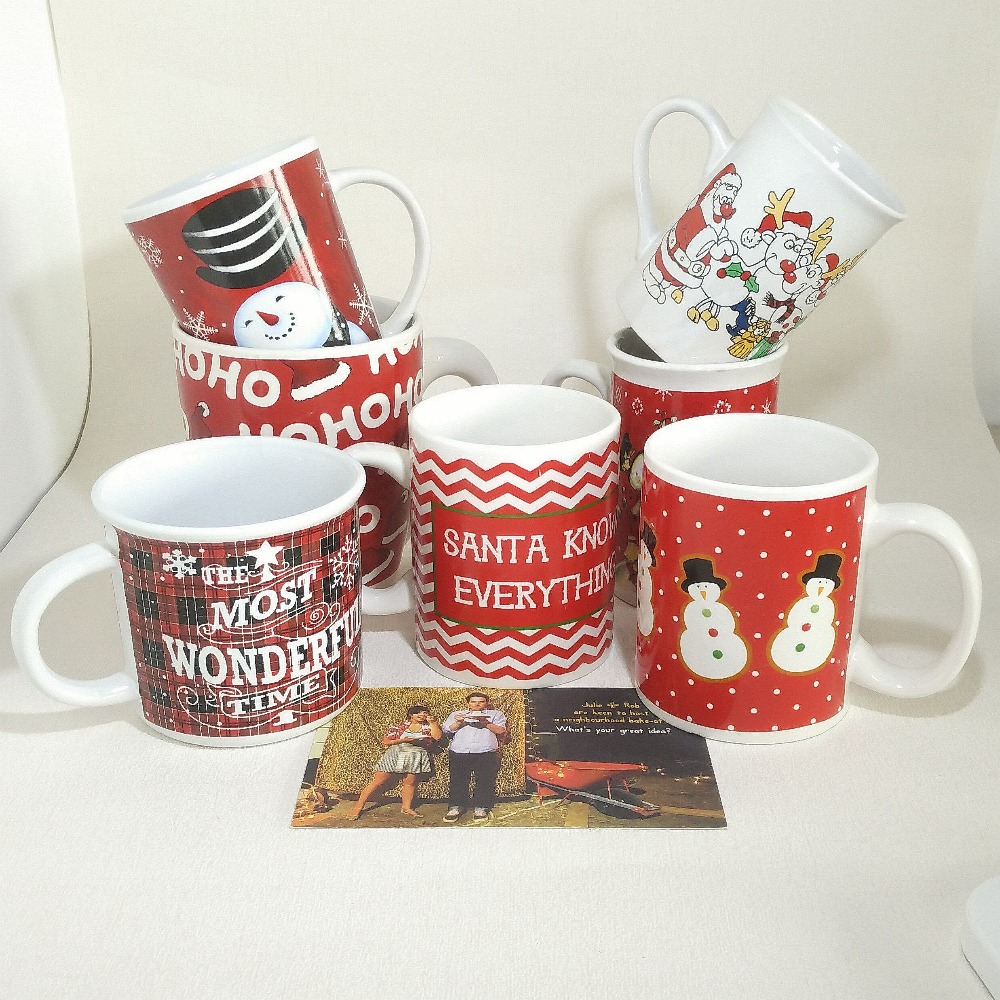 11oz Christmas gift ceramic stoneware Santa Claus logo design hot sale coffee mugs tea cups drinkware best selling products
