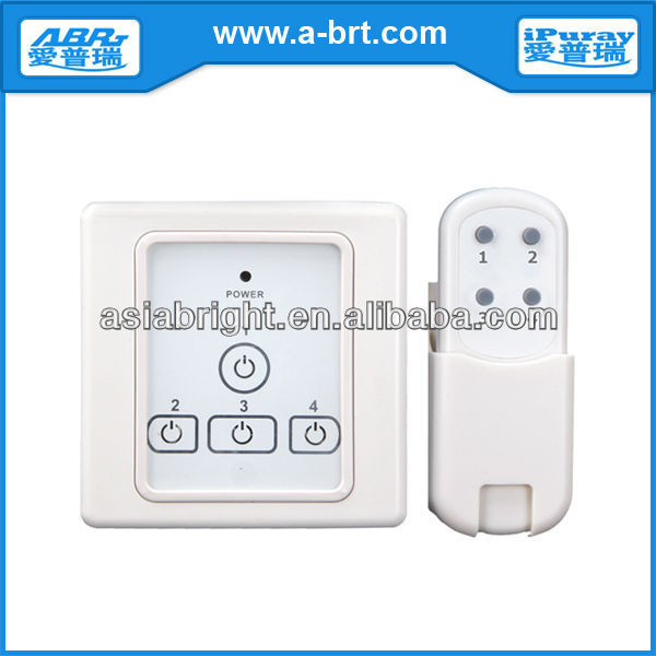 Glass Screen Remote Control Electronic Touch Light Switch for 4 Loads