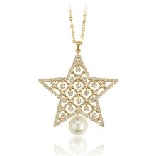 00703 xuping artificial pearl american diamond jewellery in india, pentagram necklace