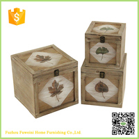 leaf printing small unfinished wooden boxes wholesale with handle