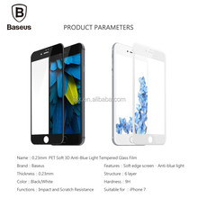 Baseus 0.23MM Tempered Glass Film For iPhone 7 7 Plus 9H Hardness PET Soft 3D Curved Full Cover Anti-Blue Light Screen Protector