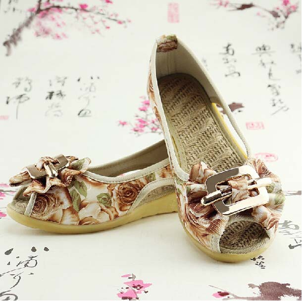 Summer Spring Shoes Women 2015 New Arrival Fashion Cotton Made Embroidered Women's Flats Open Toe Wedges Shoes Ballet Flats